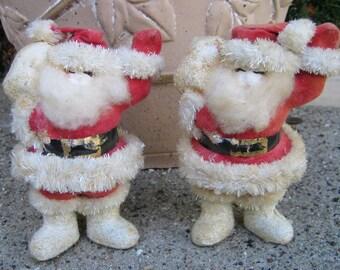 Vintage Paper Mache Santa Flocked and Chenille
