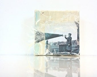 "1940's Vintage Military Bugle Player,Historical Photography,4""X4"" Small Mixed Media Art,Fine Art Print, Modern Art Decor"
