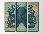 Nautical Map Octopus Triptych - Set of 3 Large Prints - Navy Octopus Art - Vintage Nautical Home Decor - Large Wall Art - Three Panels Art - BySamantha
