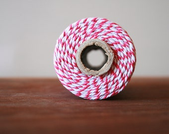 Bakers Twine, 10m, Neon Pink Hot Pink and White