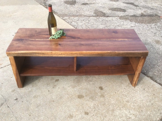 Sleek black walnut coffee table bench w storage Sleek coffee table