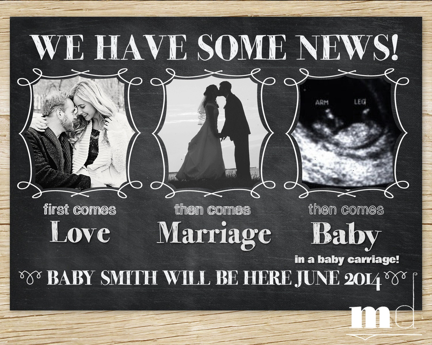 Chalkboard Pregnancy Announcement Baby Announcement Facebook