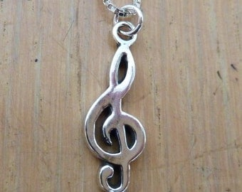 Sterling Silver Treble Clef G Clef Necklace