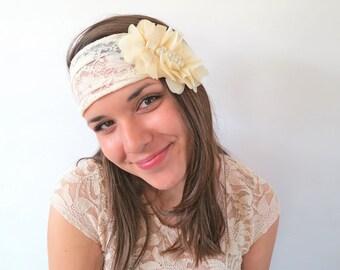 Ivory Bridal Lace Bandeau- Vintage Style Bridal Head Piece- Lace Bridal Headband-Wedding Lace Head Piece