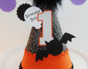 Spooky Little Bat - Halloween 1st Birthday Party Hat - Orange, Black, Silver - Personalized