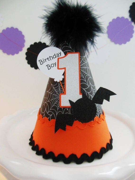 Spooky Little Bat - Halloween 1st Birthday Party Hat - Orange, Black, Silver - Personalized