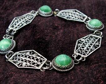 Stunning Art Deco Cantinelle Spun 800 Silver Filigree Panel with Jade Peking Glass Link Bracelet