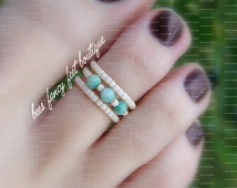 Stacking Toe Ring - Natural Jasper Stones - Apricot - Micro Beads - Stretch Bead Toe Ring