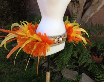 Orange and yellow feather and hau hip belt