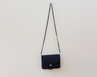 Quilted Blue Tassel Chain Strap Bag