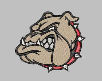 Bulldog 3 sizes embroidery file Instant Download Hand Made, Each Stitch Individually Plotted: Never Auto-Punched.