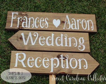 Rustic Wedding Signage, Wooden Wedding Signs, Ceremony Sign, Reception Signs, Arrow Signs, Wedding Name Signs, Shabby Chic Signs WS-52