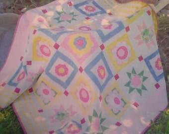 Flowers and Sunshine Lap Throw Quilt Feminine Lap Quilt Girly Playmat Pastel Colors Customization Colors