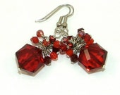 MAJOR MARKDOWN - Garnet Red Wire Wrapped Crystal Cluster Multi Colored Statement Earrings - January Birthday Gift