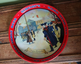 Vintage Metal Scheidt's Beer Tray - Washington at Valley Forge - Valley Forge Beer - Man Cave - Breweriana