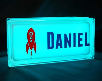 Rocket ship decal children's GloBlock night light