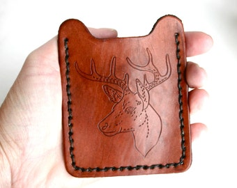 Money Clip Mens Wallet with buck, deer, antlers. Mens Leather money clip wallet. Men's leather wallet. 3rd anniversary, hunting gift for him
