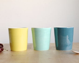 Big cup set 3 Wheel thrown ceramic cups Teal Green and Yellow brilliant glaze - Ready to ship