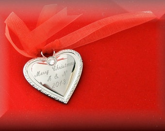 Personalized Silver Heart Ornament Engraved Free