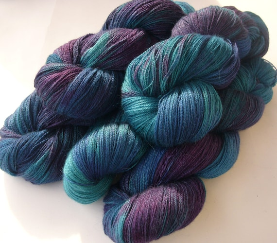 Yarn, heavy lace weight, Hand dyed yarn - Baby Alpaca, silk and ...