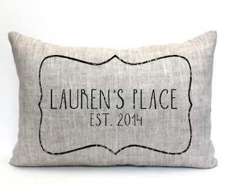 """personalized pillow, new home gift, housewarming gift, wedding gift, gift for her, christmas gift """"The Lauren"""""""