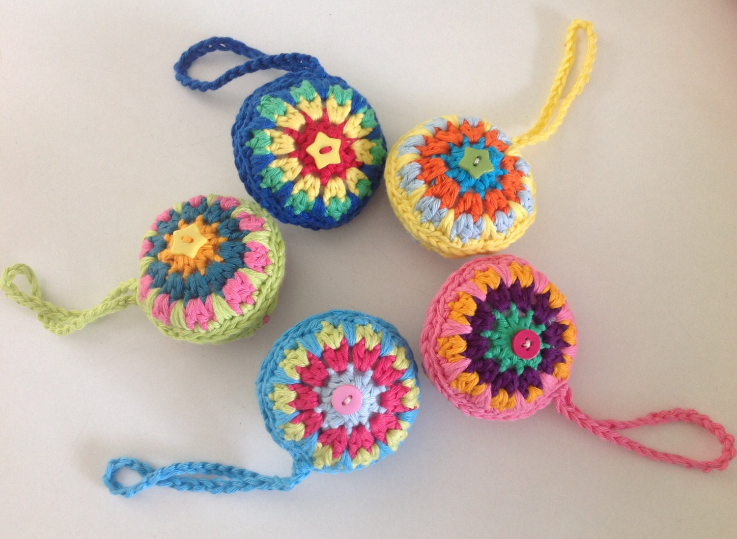 Crochet Christmas Tree Baubles Colourful Ornaments Set of