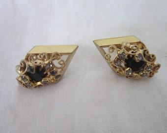 Vintage Gold with Black & White Rhinestones Retro Fancy Earrings