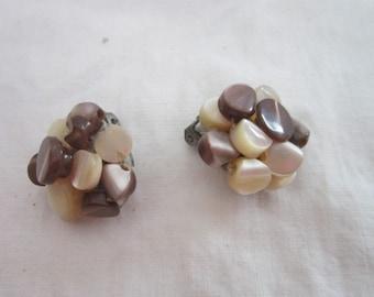Vintage 60's Retro Mother of Pearl Japan Earrings