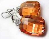 Swarovski Crystal Earrings Exotic Orange Earrings Sunset Chili Pepper Crystal Earrings Amber Swarovski Dangle Earrings Gift for her