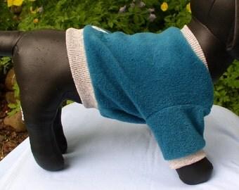 OOAK turquoise fleece dog shirt
