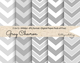 Gray Chevron Digital Paper Pack of 5--12x12 JPG Downloadable-Chevron Pattern Gray and White for Backgrounds, Web, Photo cards, invites, etc!