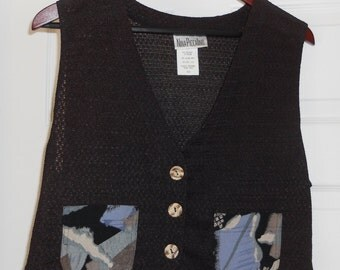 Black Knit Vest with Multicolored pockets by Nina Piccalino