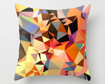 Multicolored Triangle Geometric Throw Pillow Cover, Orange Pillow Cover,Modern Throw Pillows