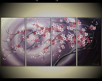 "Original Modern Impasto Painting on Gallery wrapped Canvas 48"" x24"" Home Decor, Wall Art --- Flowing  Blossoms---- by Tomoko---"