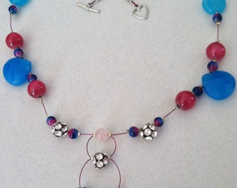 Hot Pink and Electric Blue Crystal Beaded Statement Necklace