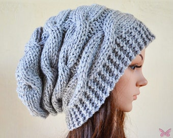 Slouchy cable style beanie hat - PEARL GREY (Or Choose Color) - womens chunky - accessories - baggy slouch