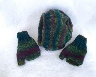 Marbled 100 percent wool,hat, fingerless gloves