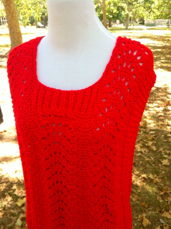 Bright Red Sleeveless Knit Open Side Sweater