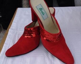 Vintage Bertie Red Sequin Mules WOW