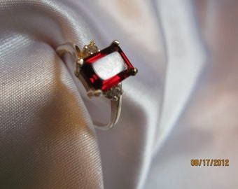 Emerald Garnet Accented Size 7 Sterling Ring