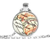 Seville map necklace pendant charm: Seville, Spain map jewelry charms, also as Seville Keychain, ornament, Seville Key Chain