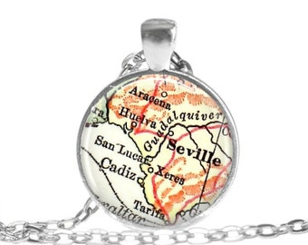 Seville map necklace pendant charm: Seville, Spain map jewelry charms, also as Seville Keychain, ornament, money clip or cuff links, A206