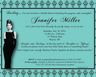 "Breakfast at Tiffany's Theme Bridal Shower ""Printable"" Invitation"