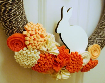 Felt Flower Yarn Wrapped Wreath KIT - Spring Bunny, Easter