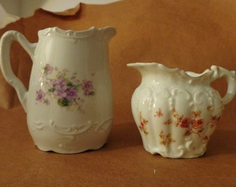Creamers Vintage 2 Floral Creamers, Shabby Chic Creamers, English Creamers