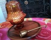 Vintage Fairy Light Indiana Diamond Cut Glass Amber Candle Holder Lantern Wood Tray Brass Snuffer Gypsy Tent Boho Bohemian Bedroom Decor