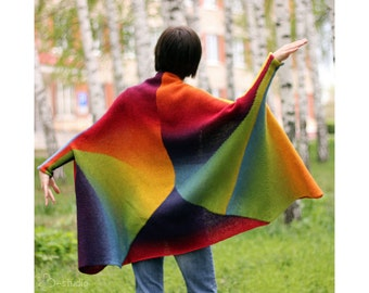 Rainbow Hand Knit oversized  Sweater coat  for Women by ToBeStudio Designer wool original creative cape Long sleeve Trendy wool clothing