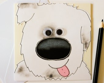 Dog handmade greeting card, Cute puppy birthday card, Funny dog card, Dog lover gift, Pet lover card, Dog owner