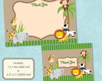Jungle / Safari Animals Themed Thank You Card - Instant Digital Download (Print Your Own)