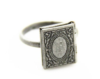 2  pcs  of  brass book shape locket ring -antique silver